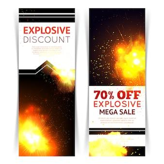Bannière verticale de vente sertie d'explosion de feu réaliste