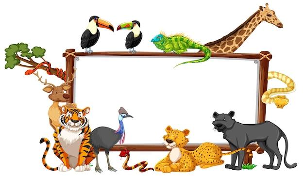 Bannière vide avec des animaux sauvages