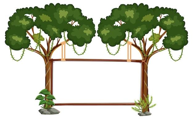 Bannière vide avec des arbres de la forêt tropicale sur blanc