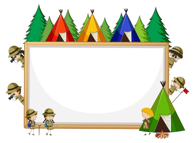 Bannière vide avec beaucoup d'enfants dans le thème scout