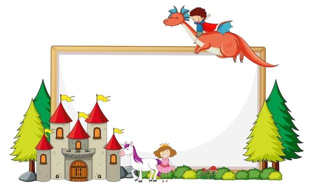 Bannière vide avec château et dragon monté sur un garçon