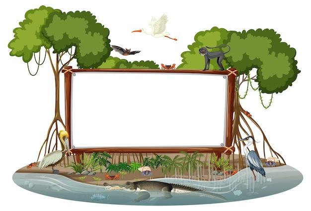 Bannière vide dans la scène de la forêt de mangrove avec des animaux sauvages isolés