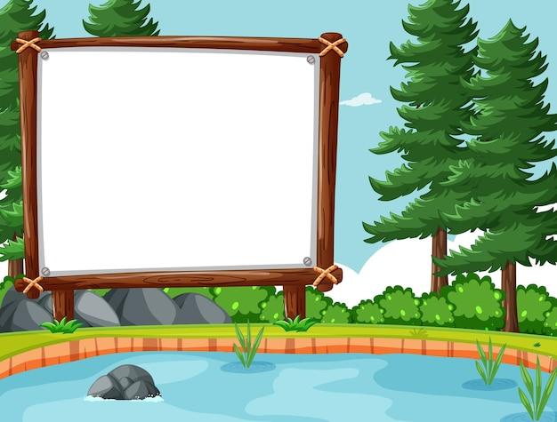 Bannière vide dans la scène de la forêt