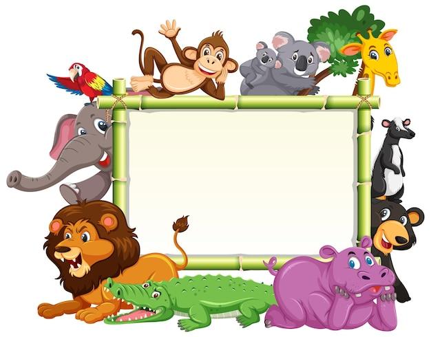 Bannière vide avec divers animaux sauvages
