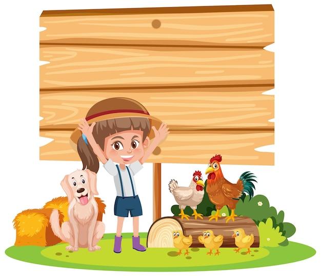 Bannière vide avec une fille et une ferme d'animaux sur fond blanc