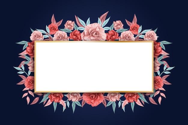 Bannière vide et fleurs d'hiver