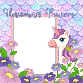 Bannière vide avec un personnage de dessin animé mignon de licorne sur des écailles de sirène pastel