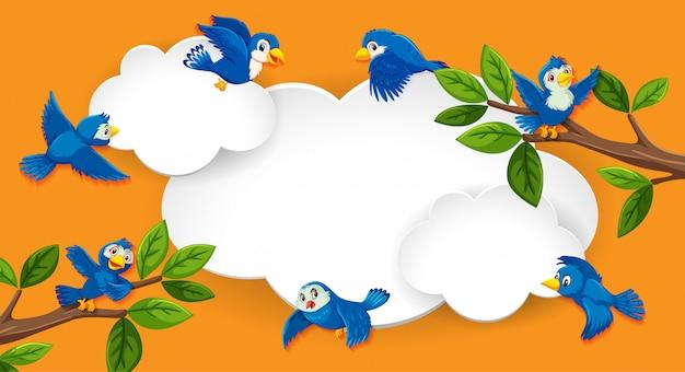 Bannière vide avec thème oiseau