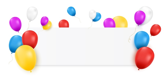 Bannière vierge avec des ballons de couleur et des confettis isolés.