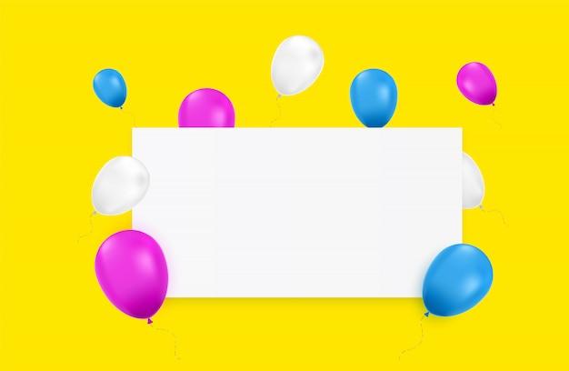 Bannière vierge avec des ballons de couleur et isolé.