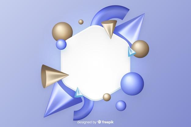 Bannière vierge avec des formes géométriques tridimensionnelles