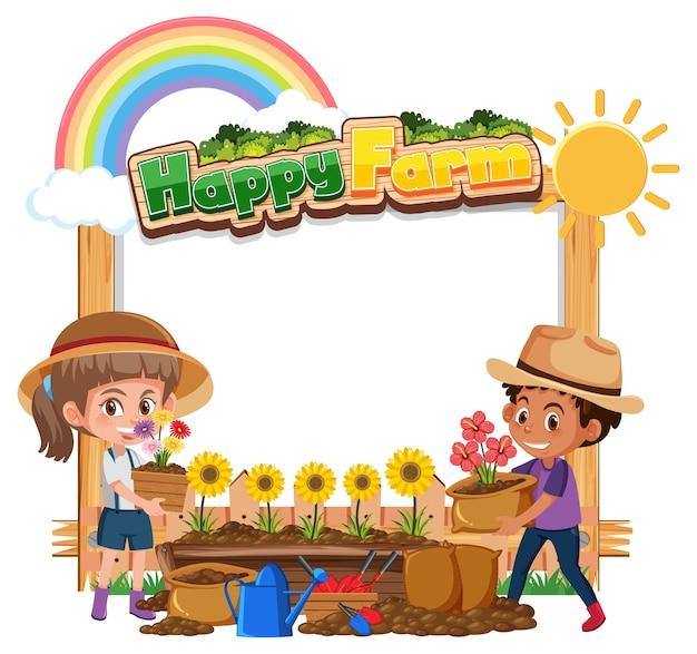 Bannière vierge avec logo happy farm et enfants fermiers isolés sur blanc
