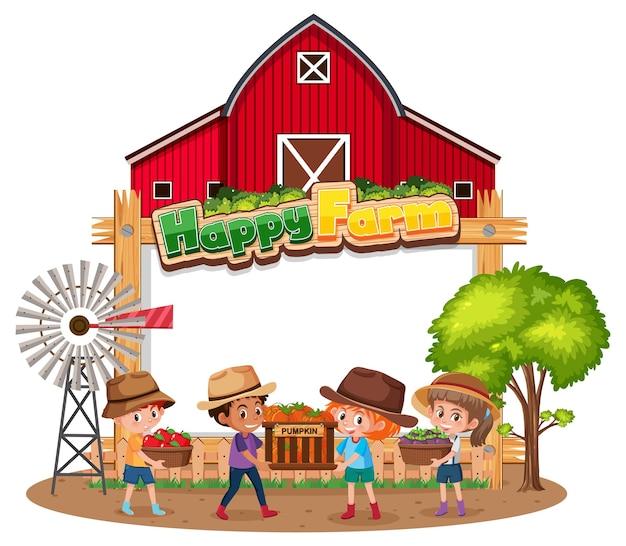 Bannière vierge avec logo happy farm et enfants fermiers isolés sur fond blanc
