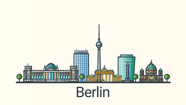 Bannière de la ville de berlin dans un style branché de ligne plate. dessin au trait de la ville de berlin. tous les bâtiments séparés et personnalisables.