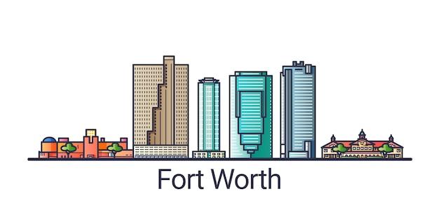 Bannière de la ville de fort worth dans un style branché de ligne plate. dessin au trait de la ville de fort worth. tous les bâtiments séparés et personnalisables.