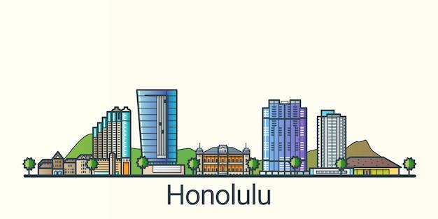 Bannière de la ville d'honolulu dans un style branché de ligne plate. dessin au trait de la ville d'honolulu. tous les bâtiments séparés et personnalisables.