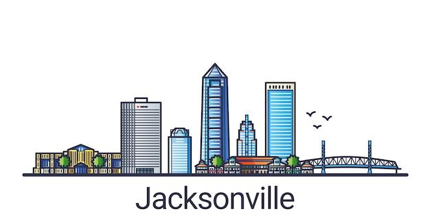 Bannière de la ville de jacksonville dans un style branché de ligne plate. dessin au trait de la ville de jacksonville. tous les bâtiments séparés et personnalisables.