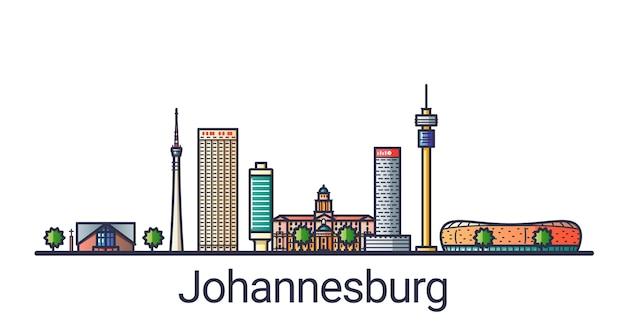 Bannière de la ville de johannesburg dans le style de ligne plate. dessin au trait de la ville de johannesburg. tous les bâtiments linéaires séparés et personnalisables.