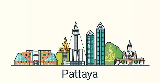 Bannière de la ville de pattaya dans un style branché de ligne plate. tous les bâtiments séparés et personnalisables. dessin au trait.
