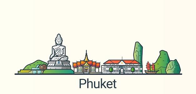 Bannière de la ville de phuket dans un style branché de ligne plate. tous les bâtiments séparés et personnalisables. dessin au trait.