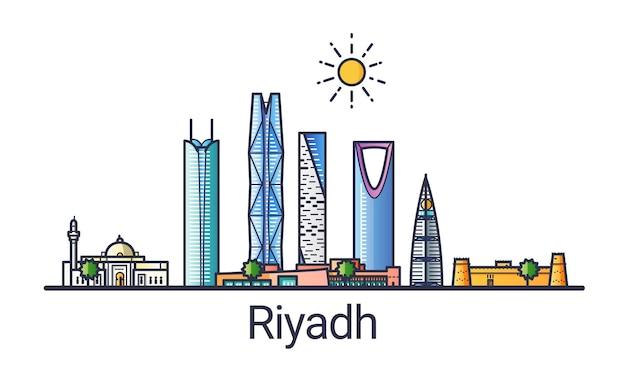 Bannière de la ville de riyad dans le style de ligne plate. dessin au trait de la ville de riyad. tous les bâtiments linéaires séparés et personnalisables.
