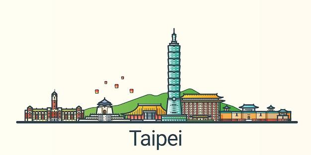 Bannière de la ville de taipei dans un style branché de ligne plate. tous les bâtiments séparés et personnalisables. dessin au trait.