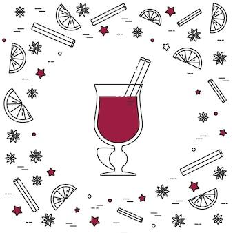 Bannière de vin chaud hiver horizontal en dessin au trait.