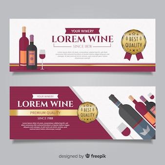 Bannière de vin plat