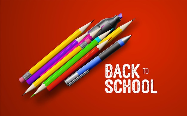 Bannière vintage blanche de retour à l'école avec des fournitures scolaires