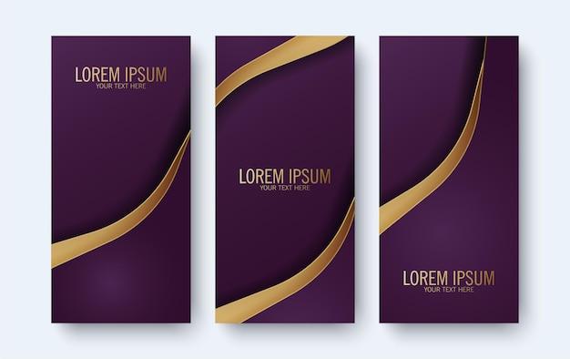 Bannière violette élégante avec style vague