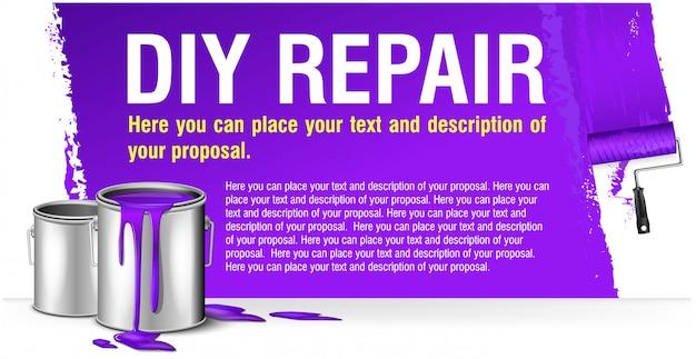 Bannière violette pour la réparation de bricolage publicitaire avec banque de peinture.