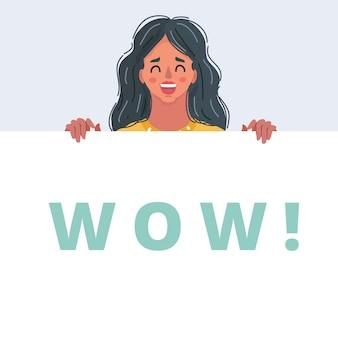 Bannière de visage féminin wow