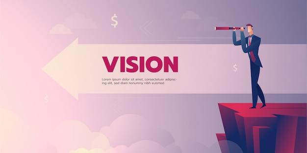 Bannière de vision homme d'affaires avec texte