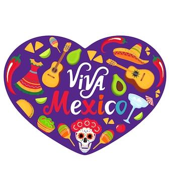 Bannière viva mexico. sombrero, guitare, crâne de sucre, cactus, guacamole, tacos. décorations pour les célébrations nationales mexicaines. cinco de mayo. le jour des morts.