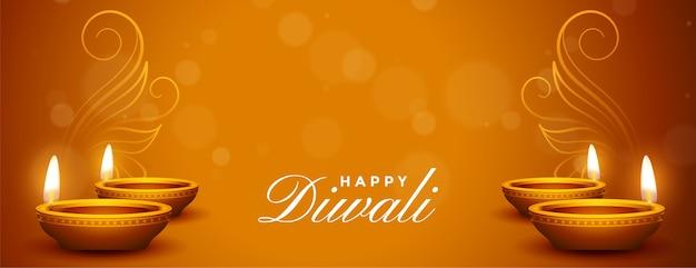 Bannière de voeux belle diwali heureux avec diya réaliste
