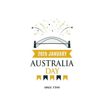 Bannière de voeux de la fête de l'australie avec texte et feu d'artifice