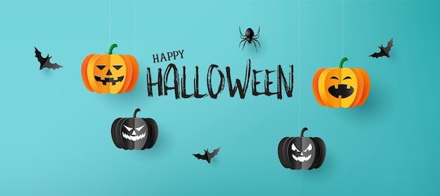 Bannière de voeux halloween heureux avec des citrouilles et des chauves-souris.