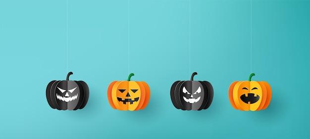 Bannière de voeux halloween heureux avec des citrouilles.