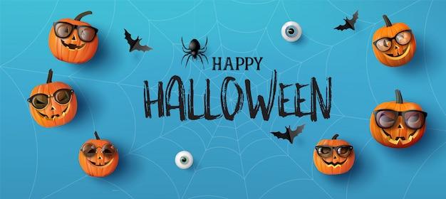 Bannière de voeux happy halloween avec des citrouilles et des chauves-souris. style de coupe de papier.