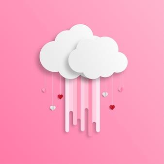 Bannière de voeux joyeuse saint-valentin dans un style réaliste de papier découpé. coeurs et nuages de papier