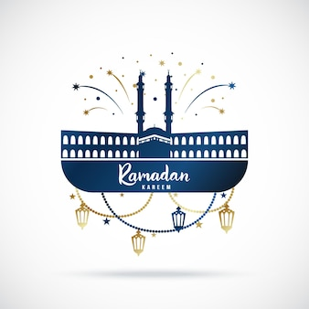 Bannière de voeux pour la fête sainte islamique ramadan kareem