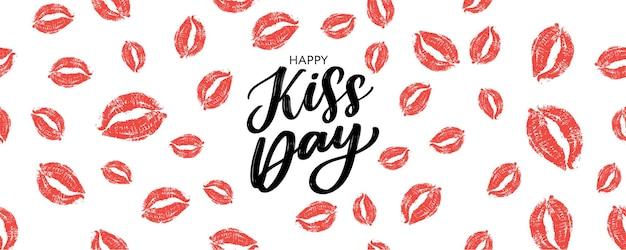 Bannière de voeux pour le jour du baiser