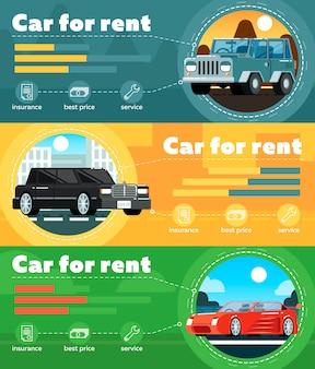 Bannière de voiture à louer dans un design plat