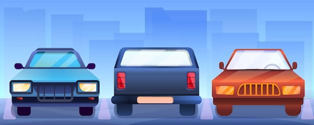 Bannière de voitures de ramassage, style cartoon