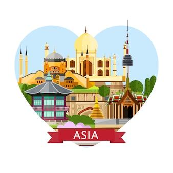 Bannière de voyage en asie avec des attractions célèbres.