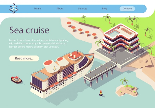 Bannière voyage en bateau de croisière en mer dans les pays tropicaux