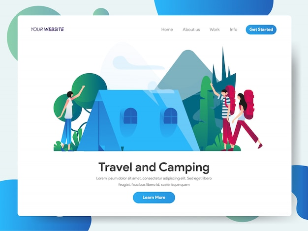 Bannière de voyage et de camping pour la page de destination