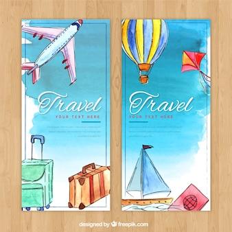 Bannière de voyage de couleur d'eau