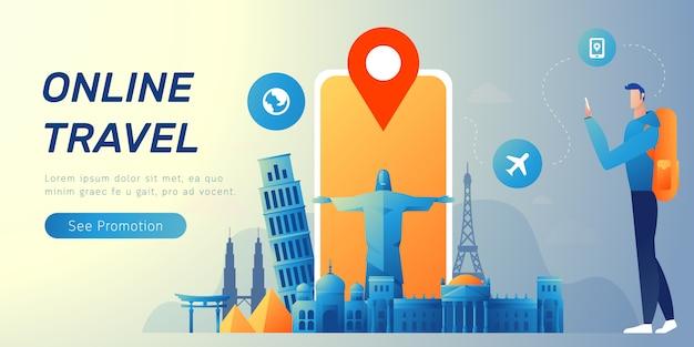Bannière de voyage en ligne