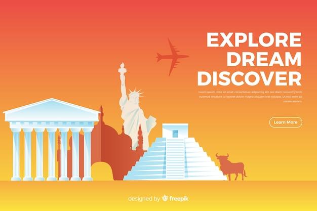 Bannière de voyage plat avec monuments